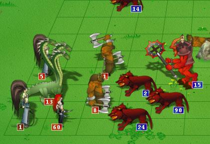 Картинка из боя онлайн игры Герои Войны и Денег